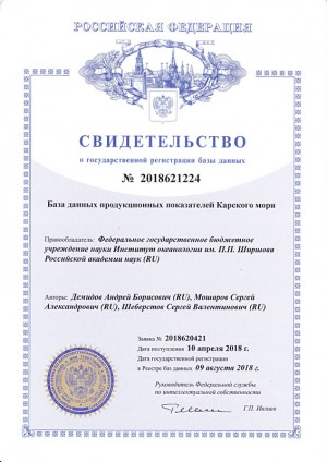 Свидетельство о государственной регистрации базы данных